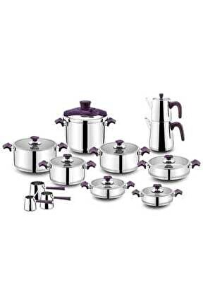 King Cam Ideal 22 Parça Çelik Tencere Takımı Purple