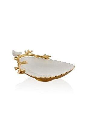 Love Bırd Serisi Beyaz Oval Dekoratif Kase 30cm