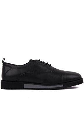 - Siyah Deri Erkek Günlük Ayakkabı