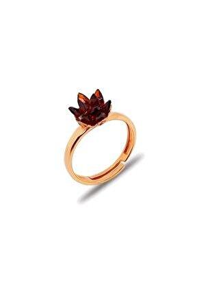 Lotus Çiçeği Modeli Roz Gümüş Taşlı Yüzüğü