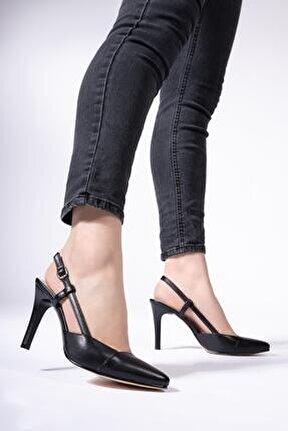 Hakiki Deri Kadın Kemerli Stiletto Arkası Açık Topuklu Ayakkabı