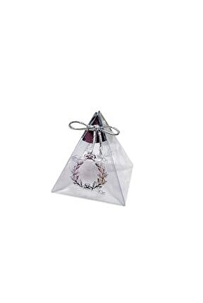 Piramit Asetat Kutu Üçgen Lokumluk Saray Desenli 6x6x6 (25 Adet) Gümüş