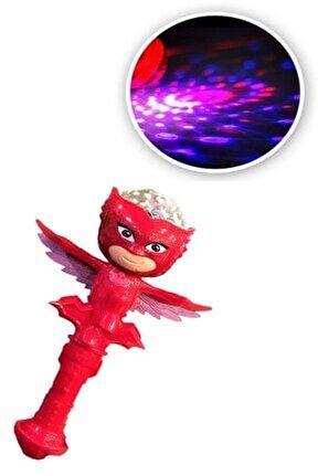 Pijamaskeliler Pjmask Baykuş Kız Owlette Asa Işıklı Müzikli Meşale Disko Topu Dönence