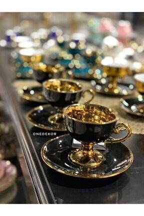 Siyah Altın Ayaklı 6 Kişilik Türk Kahvesi Fincanı