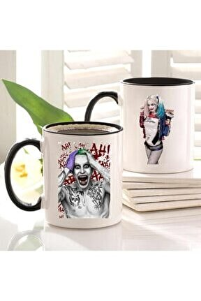 Joker Ve Harley Quinn Baskılı Içi Ve Kulpu Siyah 2'li Kupa Seti