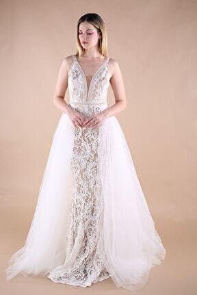 Kadın Krem Uzun Abiye Elbise TR6309