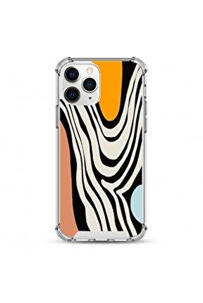 İphone 11 Pro Max Uyumlu Siyah Zebra Desen Darbe Koruyuculu Damla Baskı Silikon Kılıf
