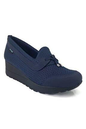 Kadın Lacivert File Detaylı Dolgu Topuklu Ayakkabı