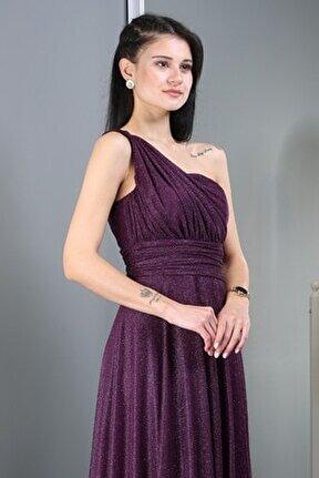 Kadın Mor Uzun Abiye Elbise