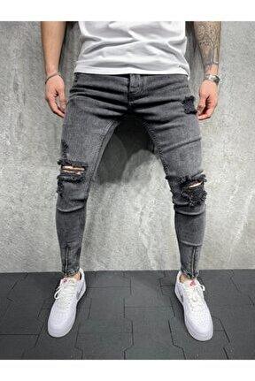 Paça Fermuarlı Gri Denim Skiny Kot Pantolon