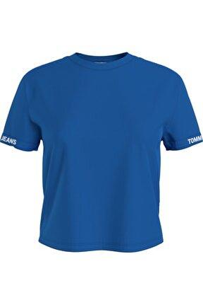 Kadın Mavi T-Shirt Tjw Crop Branded Tee DW0DW10130