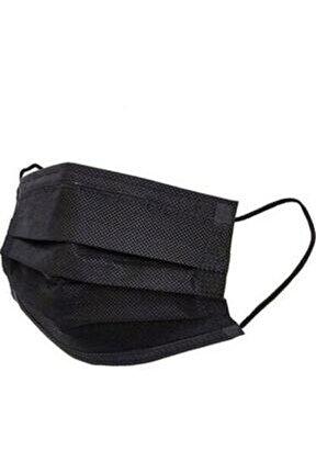 Siyah 3 Katlı Lastikli Telli Kokusuz 50lil Kutu Iso Belgeli Cerrahi Maske