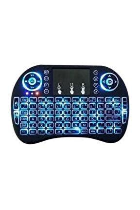 Işıklı Kablosuz Mini Klavye Tv Televizyon Ps3 Dokunmatik Mouse