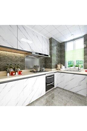 Mermer Desenli Mutfak Tezgah Üstü Yapışkanlı Folyo Beyaz
