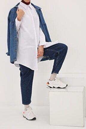 Beyaz Gizli Patlı Pamuklu Gömlek Tunik