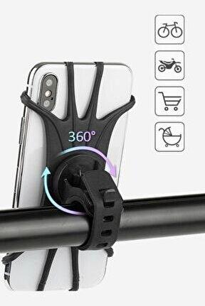 Universal Bisiklet Motosiklet Çocuk Arabası Silikon 360 Derece Telefon Tutucu Tüm Modellerle Uyumlu