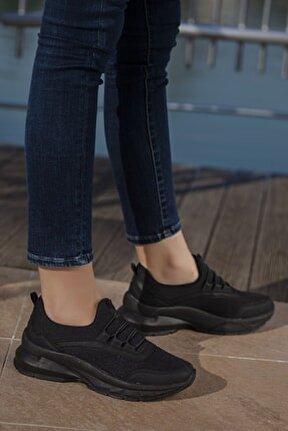 Kadın Siyah Günlük Ortopedik  Sneaker D2007