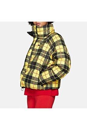 Kadın Sarı Ekose Şişme Mont - CI5021