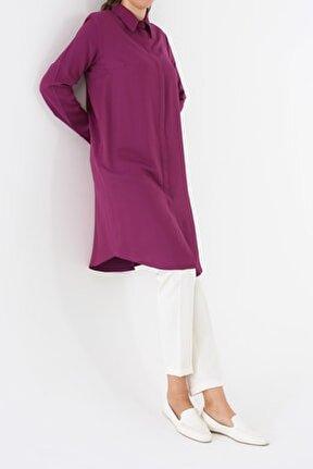 Kadın Menekşe Gizli Patlı Gömlek Tunik