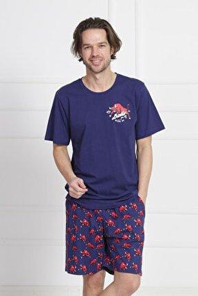 Erkek İndigo Kısa Kol Suprem Şortlu Pijama Takım