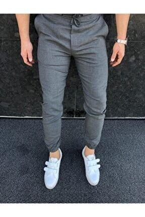 Erkek Gri Düz Jogger Kumaş Stil Paça Lastikli Pantolon