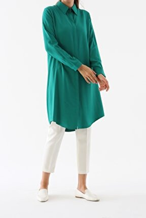 Kadın Zümrüt Gizli Patlı Gömlek Tunik