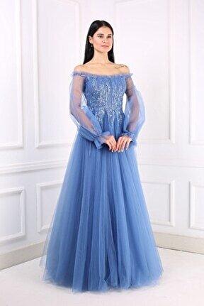 Kadın İndigo Uzun Abiye Elbise