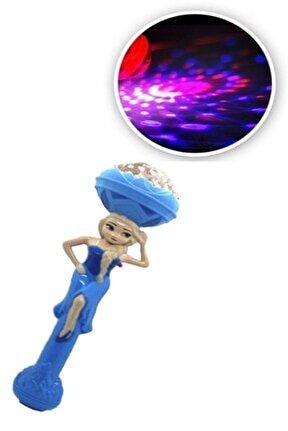 Frozen Karlar Ülkesi Elsa Sesli Işıklı Müzikli Asa Meşale Oyuncak Disko Topu Dönence