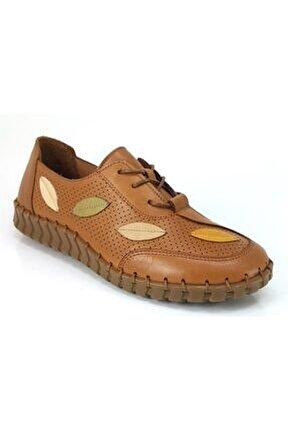 Kadın Kahverengi Yaprak Desenli  Casual Ayakkabı