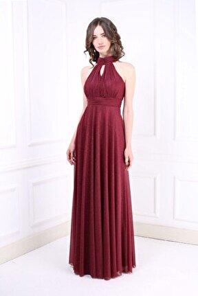 Kadın Bordo Uzun Abiye Elbise