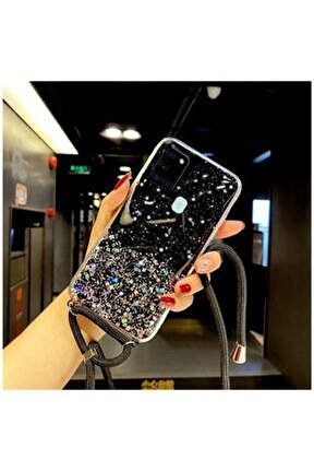 Samsung Galaxy A21s Kılıf Zebana Simli Askılı Silikon Kılıf Siyah