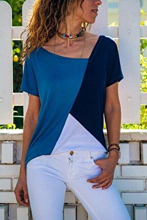 Kadın İndigo Color Block Salaş T-Shirt GK-JR402