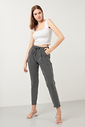 Çizgili Belden Bağlamalı Cepli Pantolon Kadın Pantolon 5862671