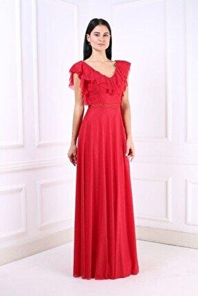 Kadın Kırmızı Uzun Abiye Elbise