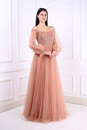 Kadın Bakır Uzun Abiye Elbise