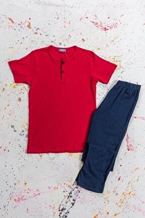Erkekbordo Pamuklu Modal Düğmeli Kısa Kollu Pijama Takımı