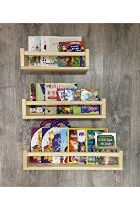 Natural Ahşap Montessori Eğitici Kitaplık Raf 1 Adet 40cm
