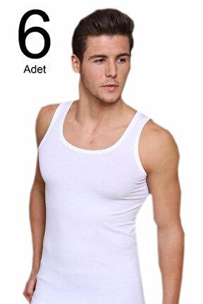 Erkek Beyaz 6'lı Paket likralı Atlet ELF568BER10306