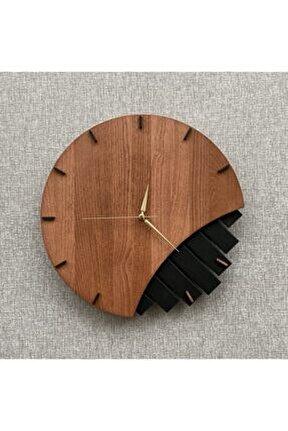 Doğal Ahşap Geometrik Duvar Saati 38x38 cm