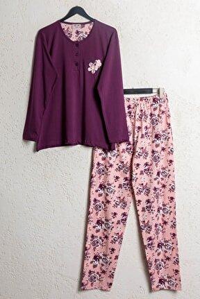 Kadın Mürdüm Pamuklu Dört Mevsim Uzun Kollu Pijama Takımı