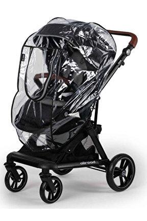Fermuarlı Lüks Bebek Arabası Yağmurluğu Siyah /