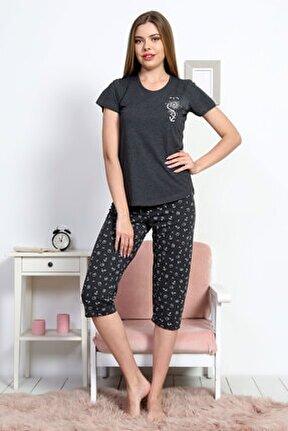 Kadın Kısa Kol Normal Beden Pamuklu Kaprili Pijama Takım