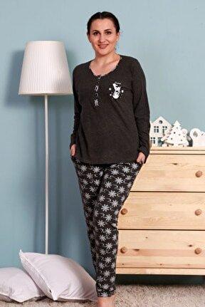 Kadın Antrasit Uzun Kol Pamuklu Pijama Takım