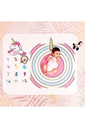 Unicorn Yeni Doğan Bebek Hediyesi Fotoğraf Battaniyesi