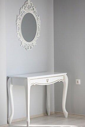 Lale Beyaz Dört Ayak Beyaz Ayna Dresuar Takımı