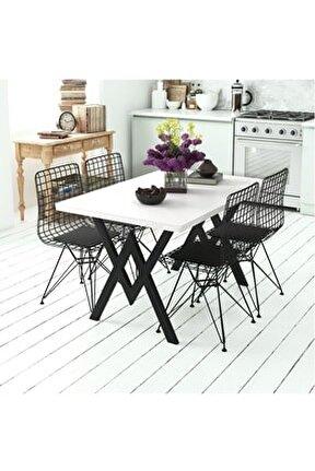 Parla 4 Kişilik Mutfak Masası Takımı Beyaz