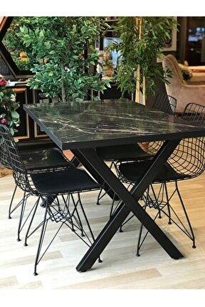 X Ayak Pera Masa + 4 Sandalye siyah mermer  120-80