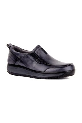 - Gri Deri Erkek Günlük Ayakkabı