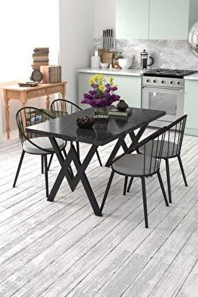 Eylül 4 Kişilik Mutfak Masası Takımı Siyah Mermer Desen Gri