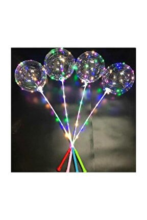 3 Foksiyonlu Işıklı Balon Transparent Led Şeffaf Balon Çubuklu